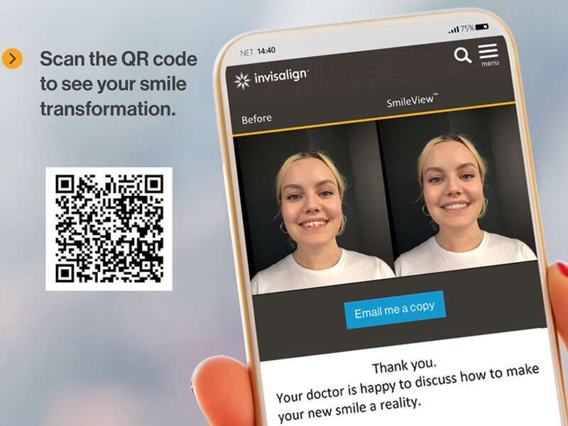 Scan the Invisalign QR code for your new smile